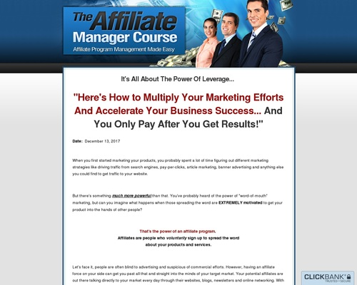 The Affiliate Manager Course – Affiliate Program Management Made Easy
