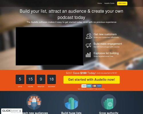 Audello – The Traffic Getting, List Building Podcast Platform