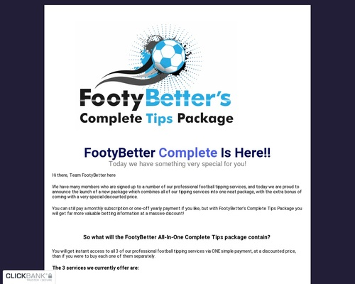 FootyBetter Complete Tips Package