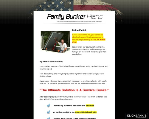 Family Bunker Plans – Top New Survival Product Paying 75%.