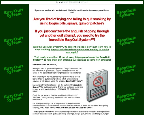EasyQuit SystemTM – stop smoking program; learn how to quit smoking for good