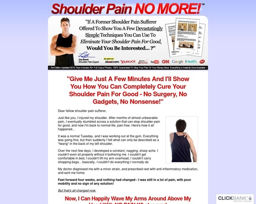 Shoulder Pain No More ™: Top Shoulder Pain Healing Product On CB