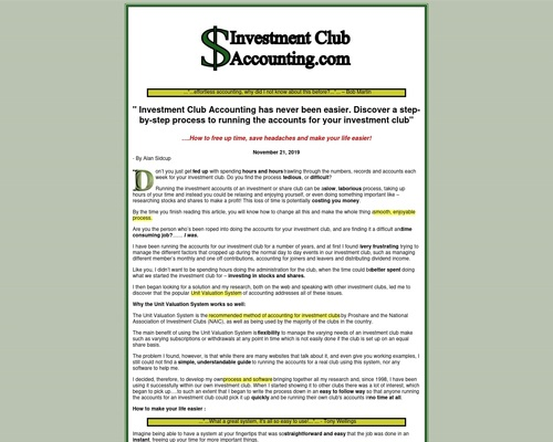 Investment Club Accounting . Com – Easy Accounting For Investment Clubs