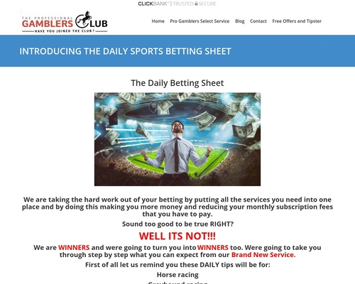 INTRODUCING THE DAILY SPORTS BETTING CLUB – Welcome To The professional Gamblers Club