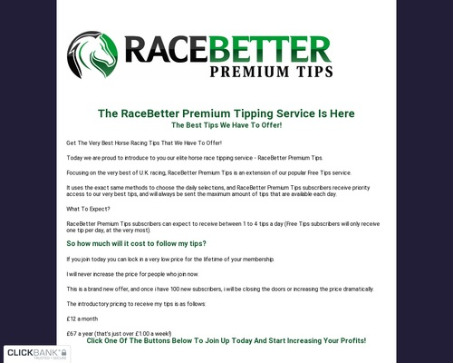RaceBetter's Premium Horse Racing Tips