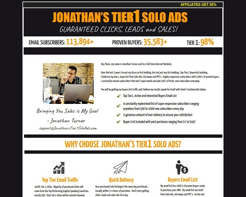 New 2019 Jonathan's Tier1 Solo Ads – Get 4000+ Clicks – 800+ Optins