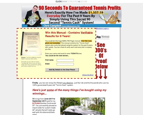 90 second tennis cash system makes ,357.19 daily for past 9 years