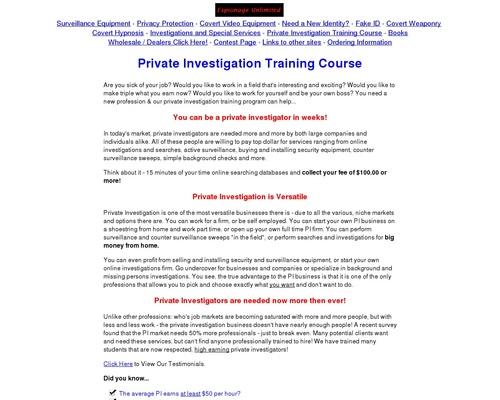 Private Investigation Training Course